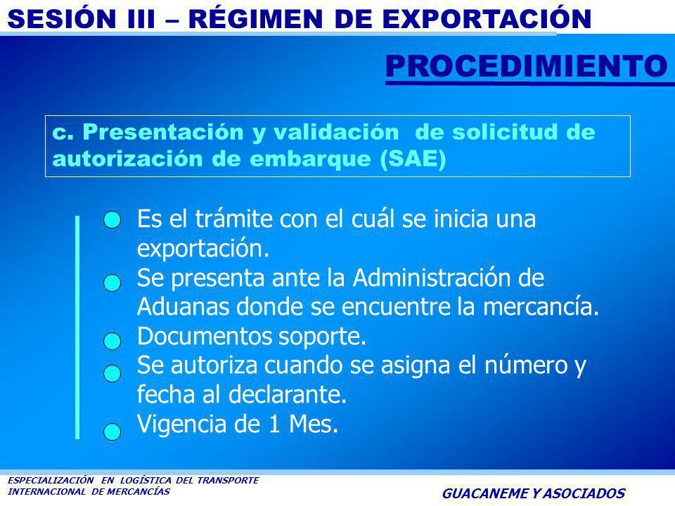 PROCEDIMIENTO Es el trámite con el cuál se inicia una exportación.