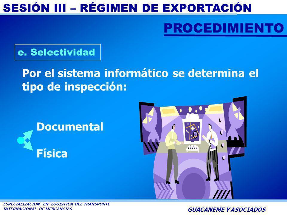PROCEDIMIENTO e. Selectividad. Por el sistema informático se determina el tipo de inspección: Documental.