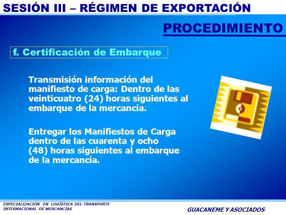 PROCEDIMIENTO f. Certificación de Embarque