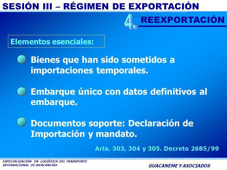 4. REEXPORTACIÓN. Elementos esenciales: Bienes que han sido sometidos a importaciones temporales.