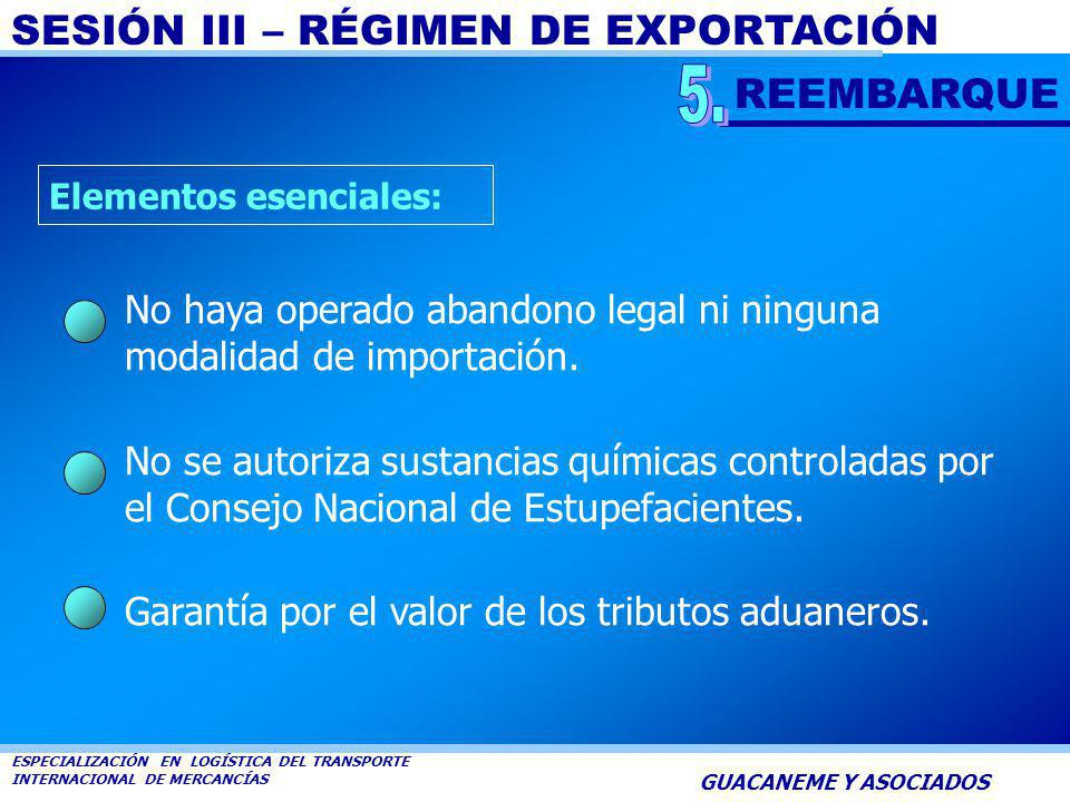 REEMBARQUE 5. Elementos esenciales: No haya operado abandono legal ni ninguna modalidad de importación.