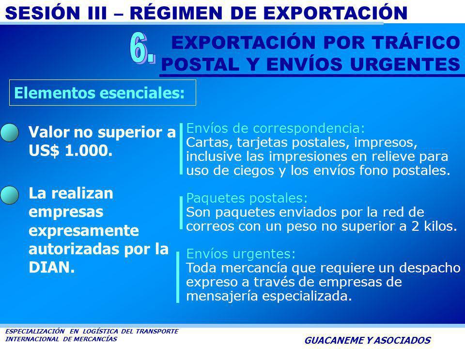 6. EXPORTACIÓN POR TRÁFICO POSTAL Y ENVÍOS URGENTES