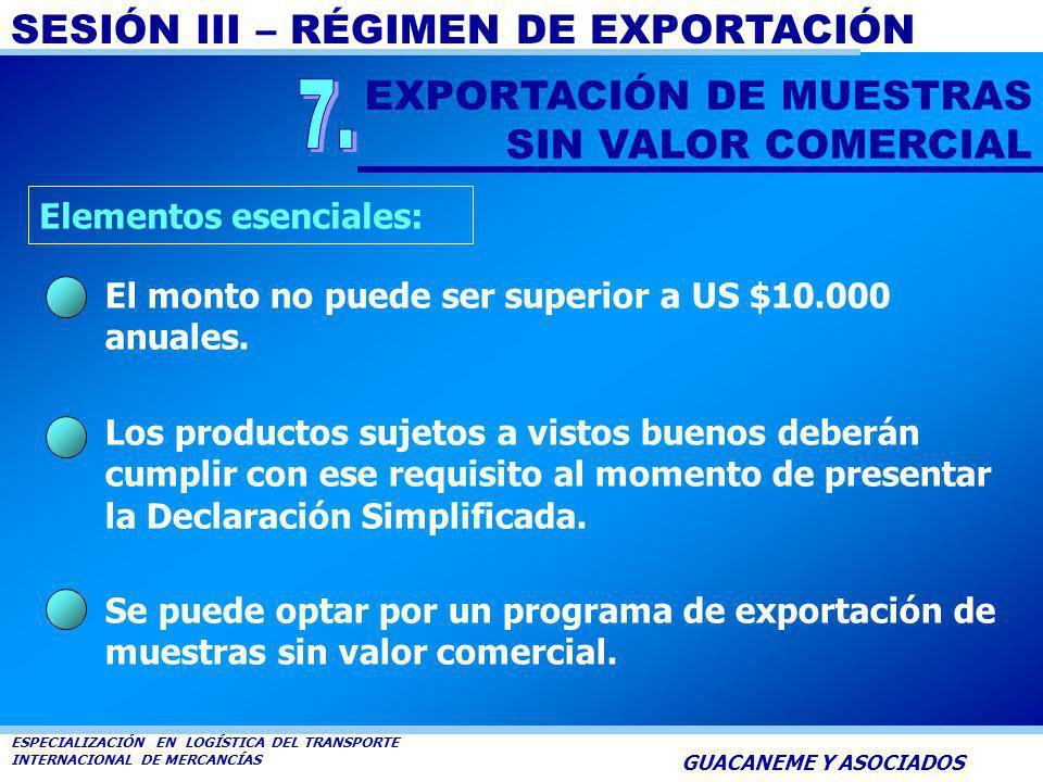 7. EXPORTACIÓN DE MUESTRAS SIN VALOR COMERCIAL Elementos esenciales: