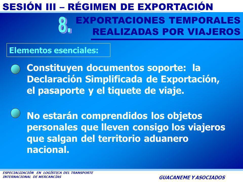 8. EXPORTACIONES TEMPORALES REALIZADAS POR VIAJEROS