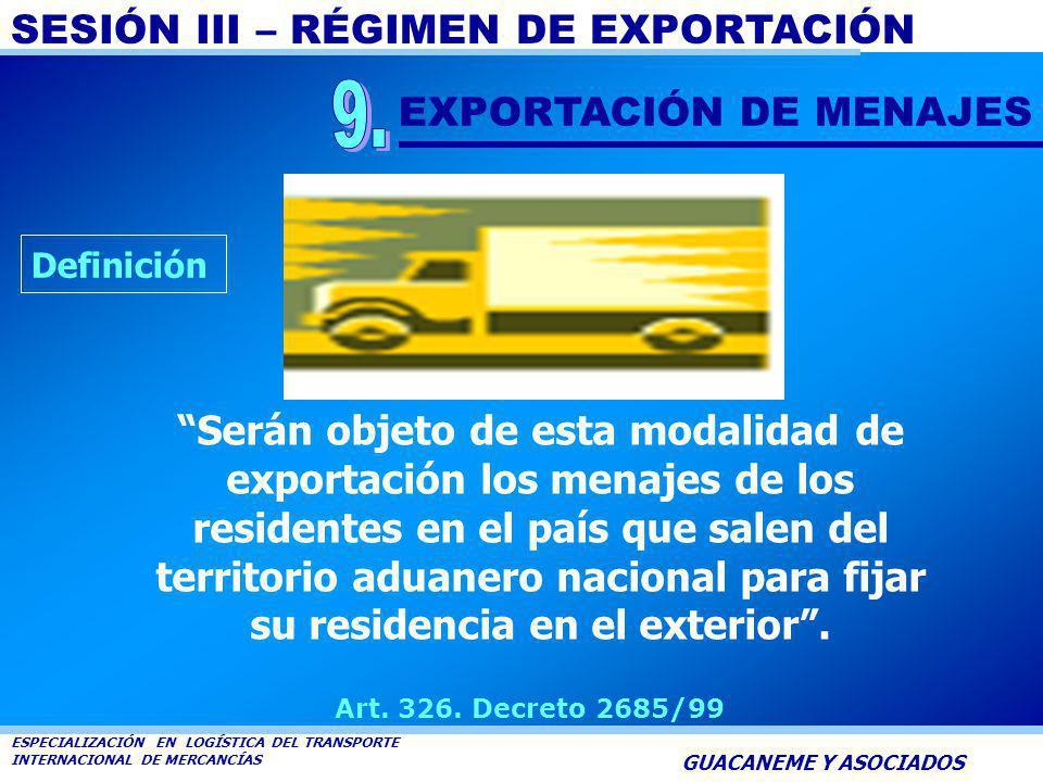 9. EXPORTACIÓN DE MENAJES