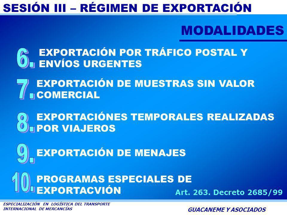 MODALIDADES EXPORTACIÓN POR TRÁFICO POSTAL Y ENVÍOS URGENTES. 6. EXPORTACIÓN DE MUESTRAS SIN VALOR COMERCIAL.