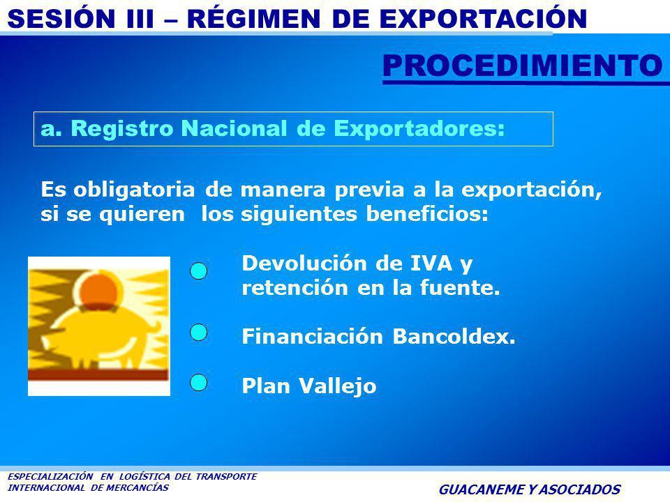 PROCEDIMIENTO a. Registro Nacional de Exportadores: