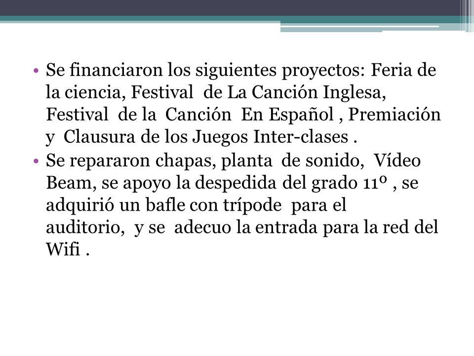 Se financiaron los siguientes proyectos: Feria de la ciencia, Festival de La Canción Inglesa, Festival de la Canción En Español , Premiación y Clausura de los Juegos Inter-clases .