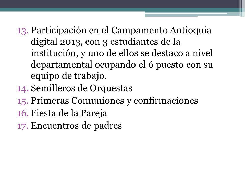 Participación en el Campamento Antioquia digital 2013, con 3 estudiantes de la institución, y uno de ellos se destaco a nivel departamental ocupando el 6 puesto con su equipo de trabajo.