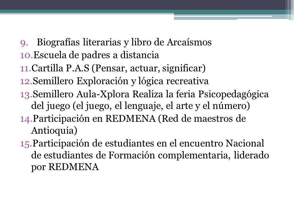 Biografías literarias y libro de Arcaísmos