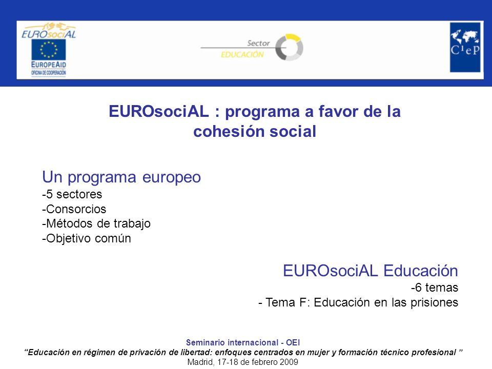 EUROsociAL : programa a favor de la cohesión social