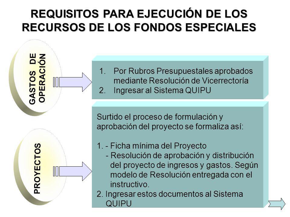 REQUISITOS PARA EJECUCIÓN DE LOS RECURSOS DE LOS FONDOS ESPECIALES