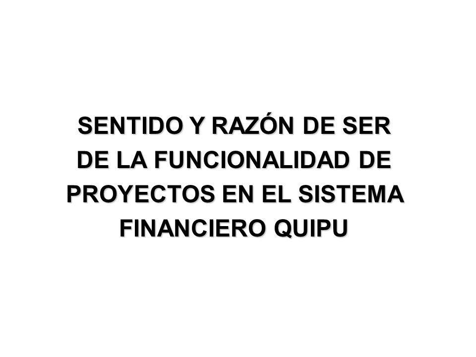 SENTIDO Y RAZÓN DE SER DE LA FUNCIONALIDAD DE PROYECTOS EN EL SISTEMA FINANCIERO QUIPU