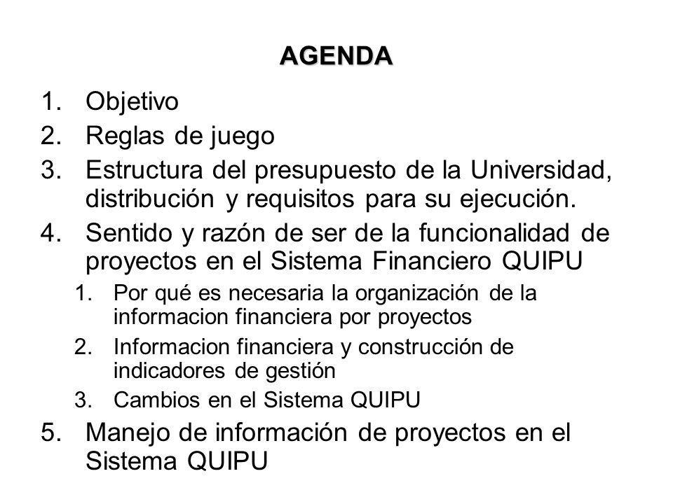Manejo de información de proyectos en el Sistema QUIPU