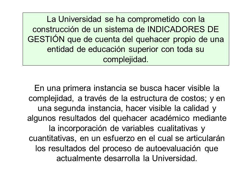 La Universidad se ha comprometido con la construcción de un sistema de INDICADORES DE GESTIÓN que de cuenta del quehacer propio de una entidad de educación superior con toda su complejidad.