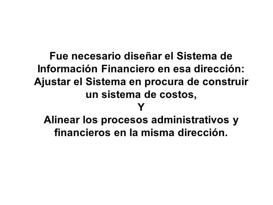 Fue necesario diseñar el Sistema de Información Financiero en esa dirección: Ajustar el Sistema en procura de construir un sistema de costos,