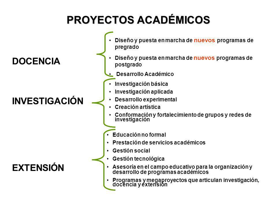 PROYECTOS ACADÉMICOS DOCENCIA INVESTIGACIÓN EXTENSIÓN