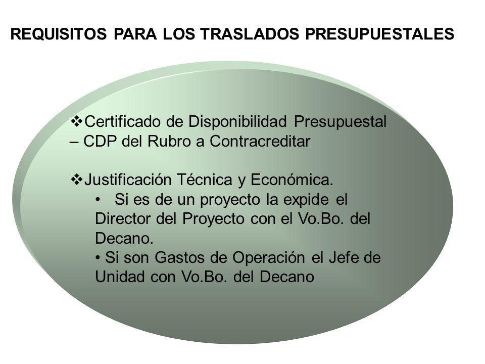 REQUISITOS PARA LOS TRASLADOS PRESUPUESTALES