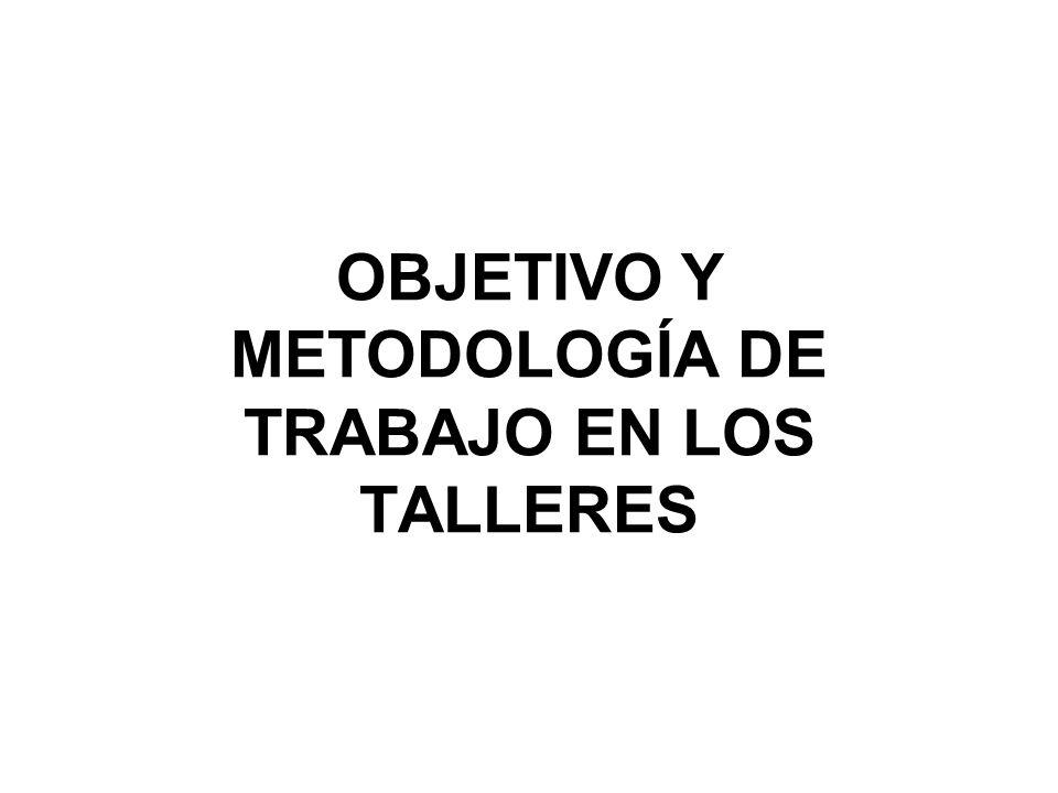 OBJETIVO Y METODOLOGÍA DE TRABAJO EN LOS TALLERES