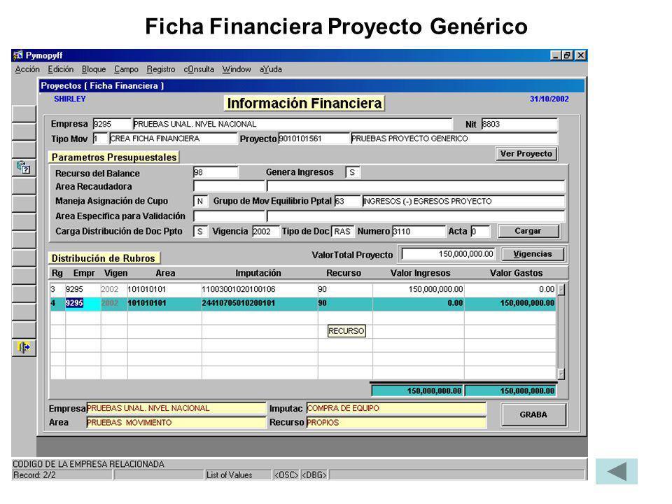 Ficha Financiera Proyecto Genérico