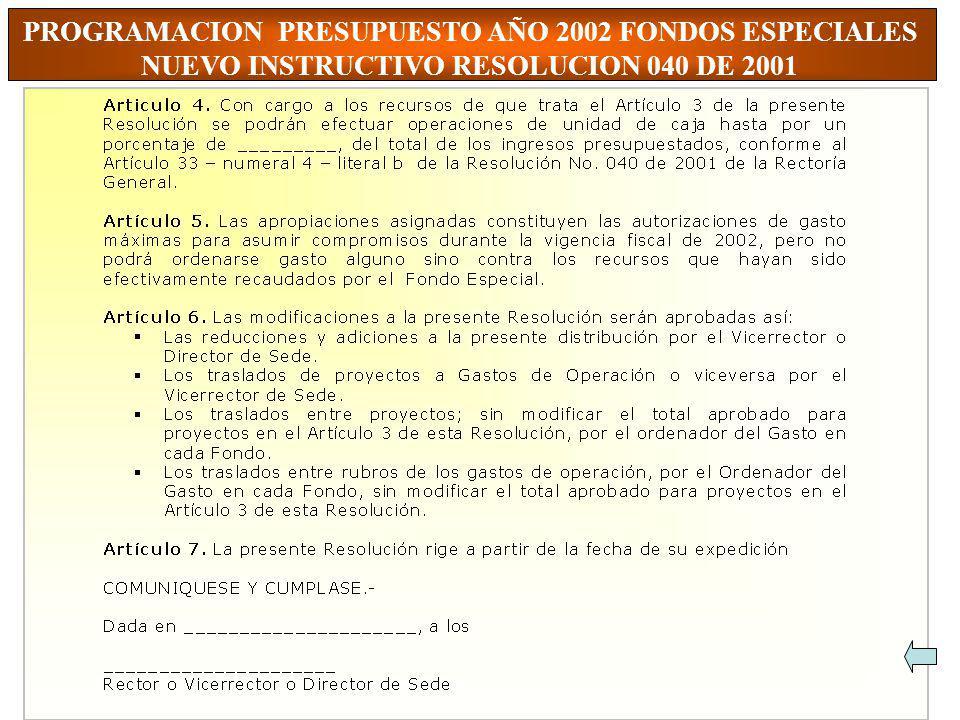 PROGRAMACION PRESUPUESTO AÑO 2002 FONDOS ESPECIALES
