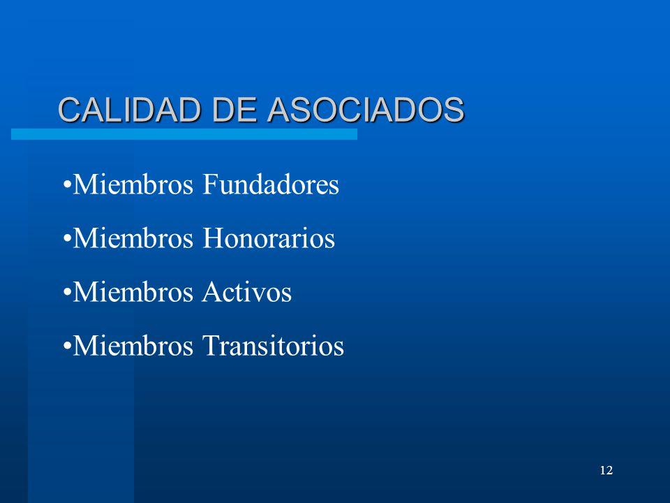 CALIDAD DE ASOCIADOS Miembros Fundadores Miembros Honorarios