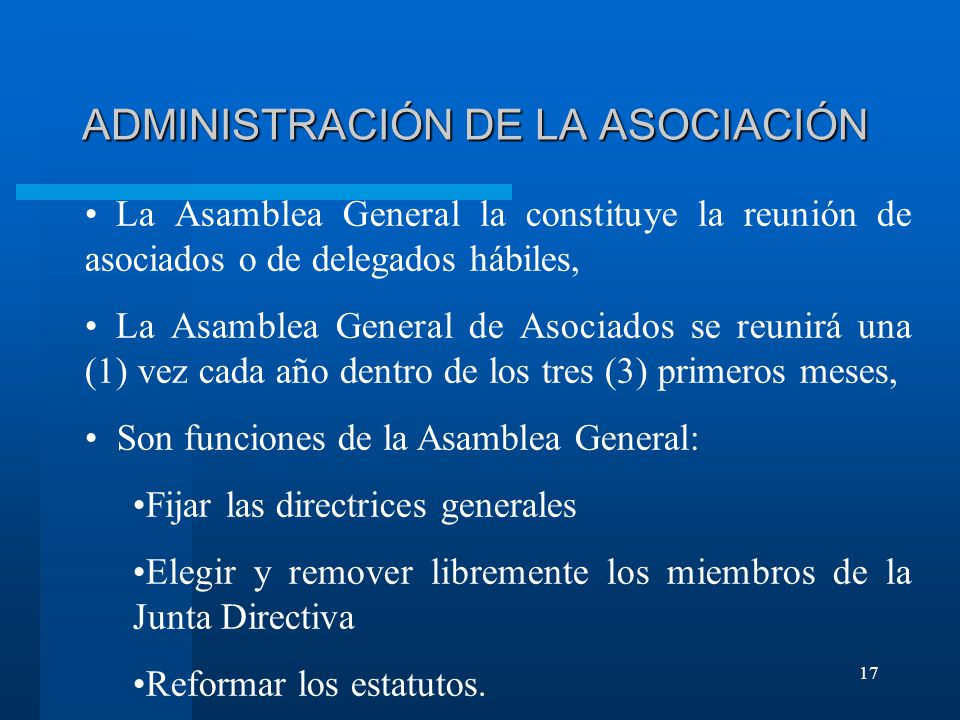 ADMINISTRACIÓN DE LA ASOCIACIÓN