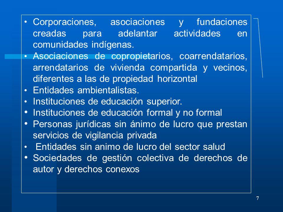 Corporaciones, asociaciones y fundaciones creadas para adelantar actividades en comunidades indígenas.