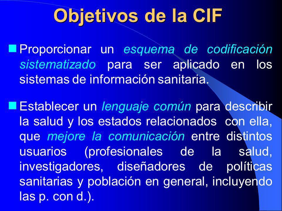 Objetivos de la CIF Proporcionar un esquema de codificación sistematizado para ser aplicado en los sistemas de información sanitaria.
