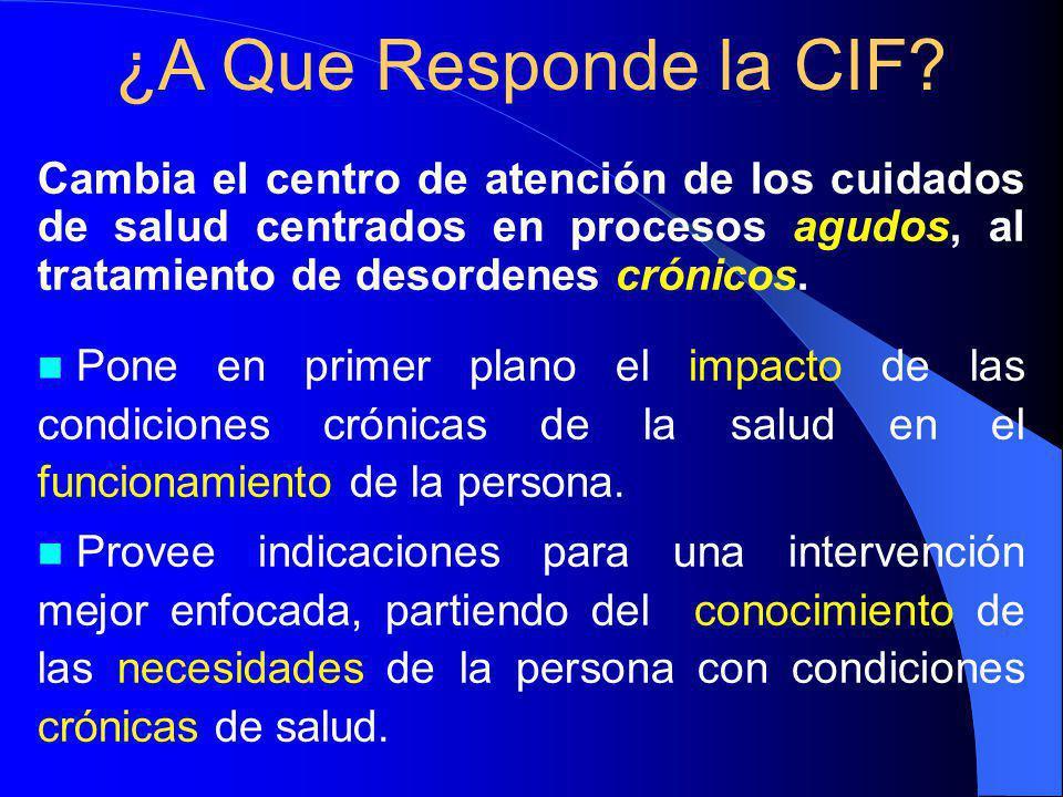 ¿A Que Responde la CIF Cambia el centro de atención de los cuidados de salud centrados en procesos agudos, al tratamiento de desordenes crónicos.