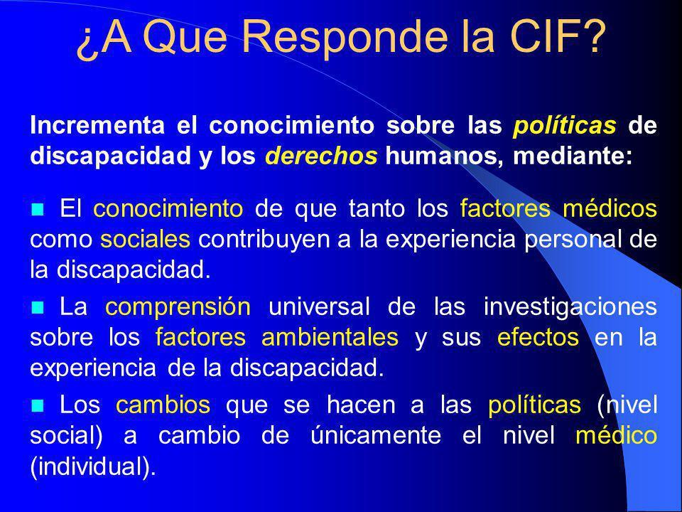 ¿A Que Responde la CIF Incrementa el conocimiento sobre las políticas de discapacidad y los derechos humanos, mediante: