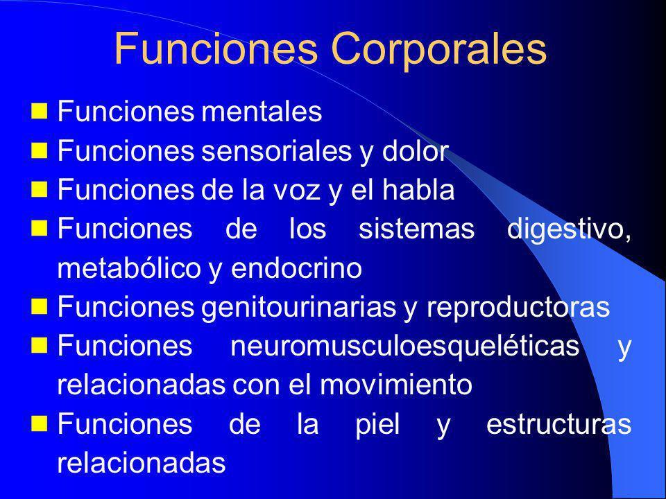 Funciones Corporales Funciones mentales Funciones sensoriales y dolor