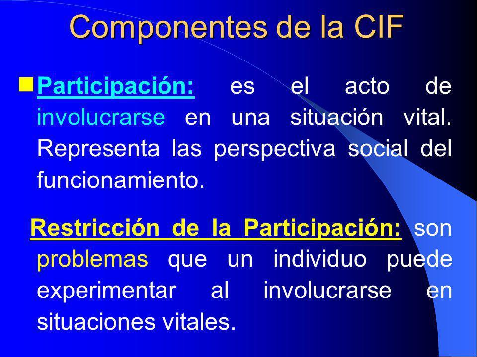 Componentes de la CIF Participación: es el acto de involucrarse en una situación vital. Representa las perspectiva social del funcionamiento.
