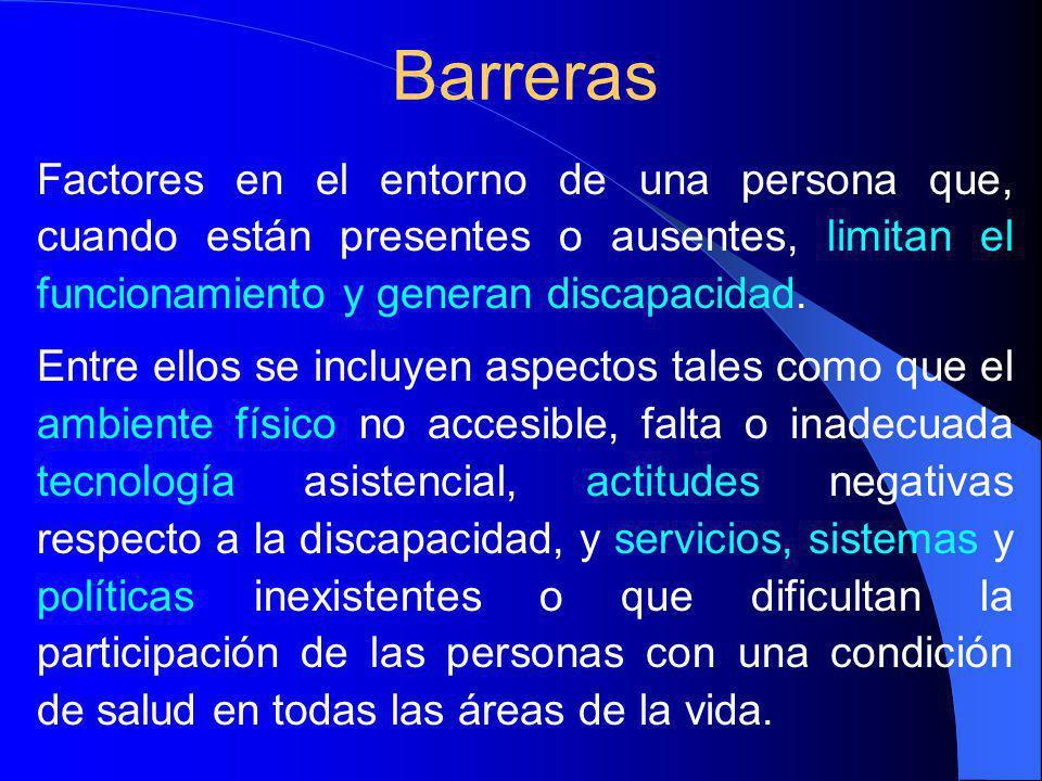 Barreras Factores en el entorno de una persona que, cuando están presentes o ausentes, limitan el funcionamiento y generan discapacidad.