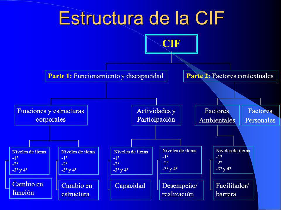 Estructura de la CIF CIF Cambio en función Cambio en estructura