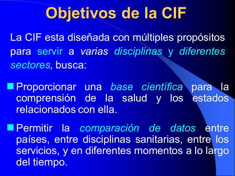 Objetivos de la CIF La CIF esta diseñada con múltiples propósitos para servir a varias disciplinas y diferentes sectores, busca: