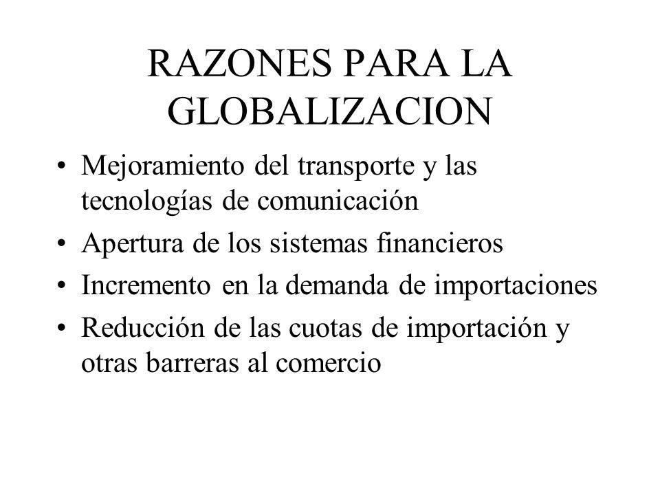 RAZONES PARA LA GLOBALIZACION