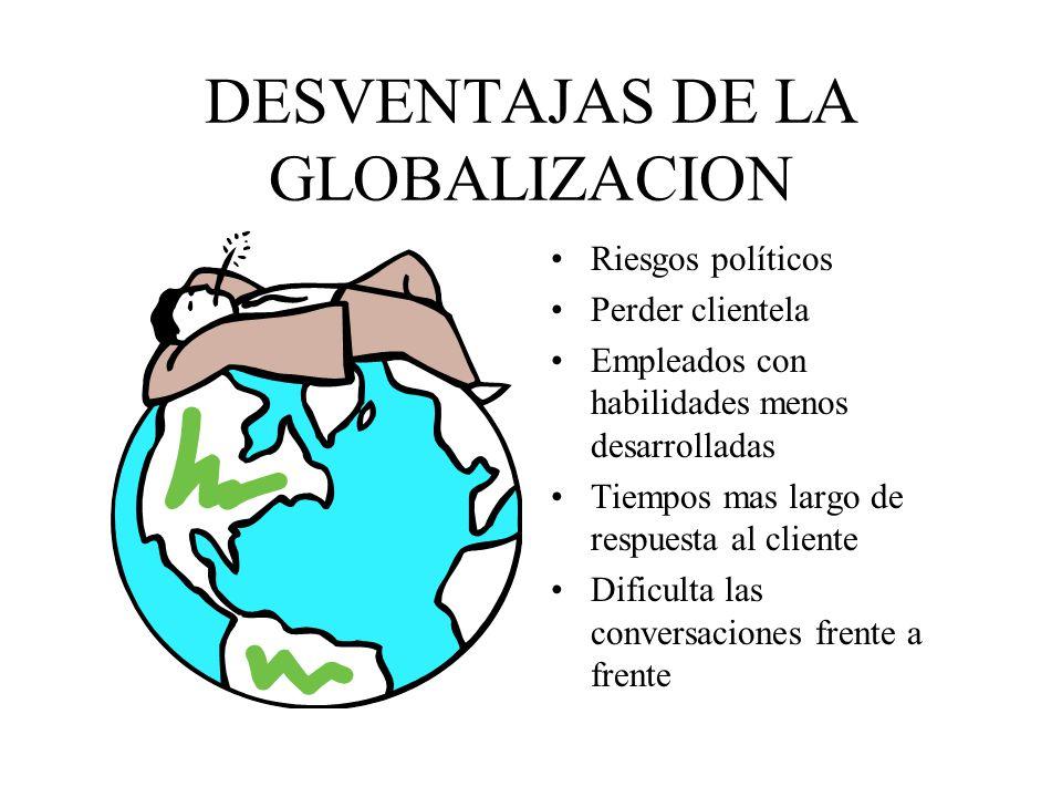 DESVENTAJAS DE LA GLOBALIZACION