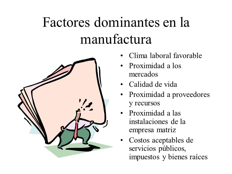 Factores dominantes en la manufactura