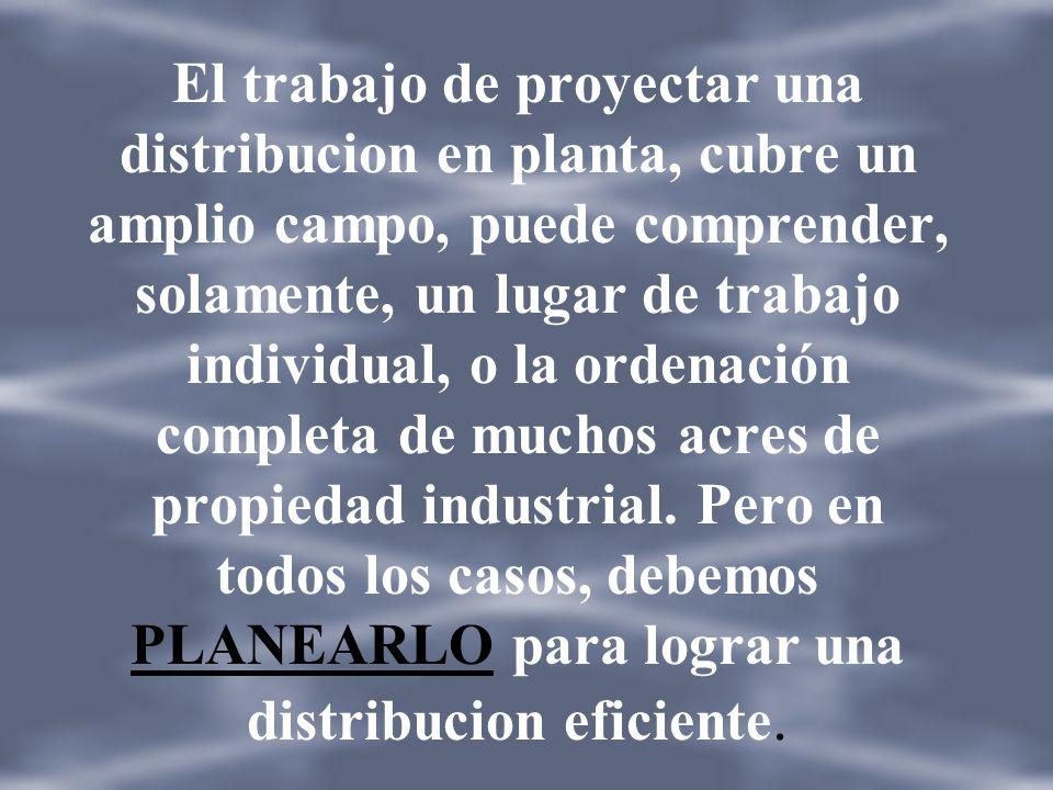 El trabajo de proyectar una distribucion en planta, cubre un amplio campo, puede comprender, solamente, un lugar de trabajo individual, o la ordenación completa de muchos acres de propiedad industrial.