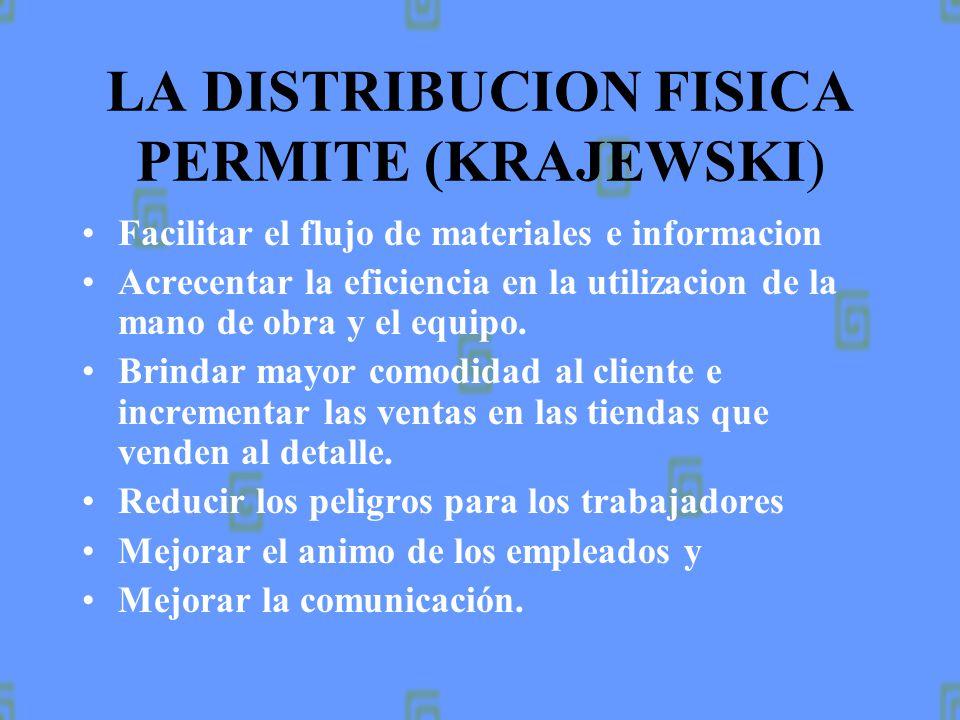 LA DISTRIBUCION FISICA PERMITE (KRAJEWSKI)