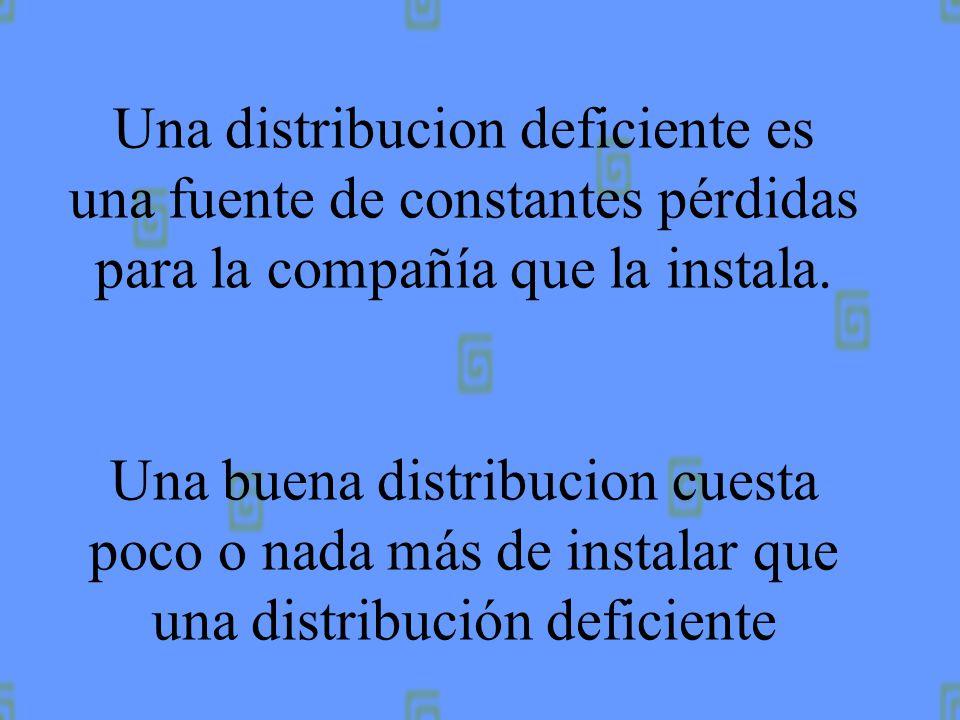 Una distribucion deficiente es una fuente de constantes pérdidas para la compañía que la instala.