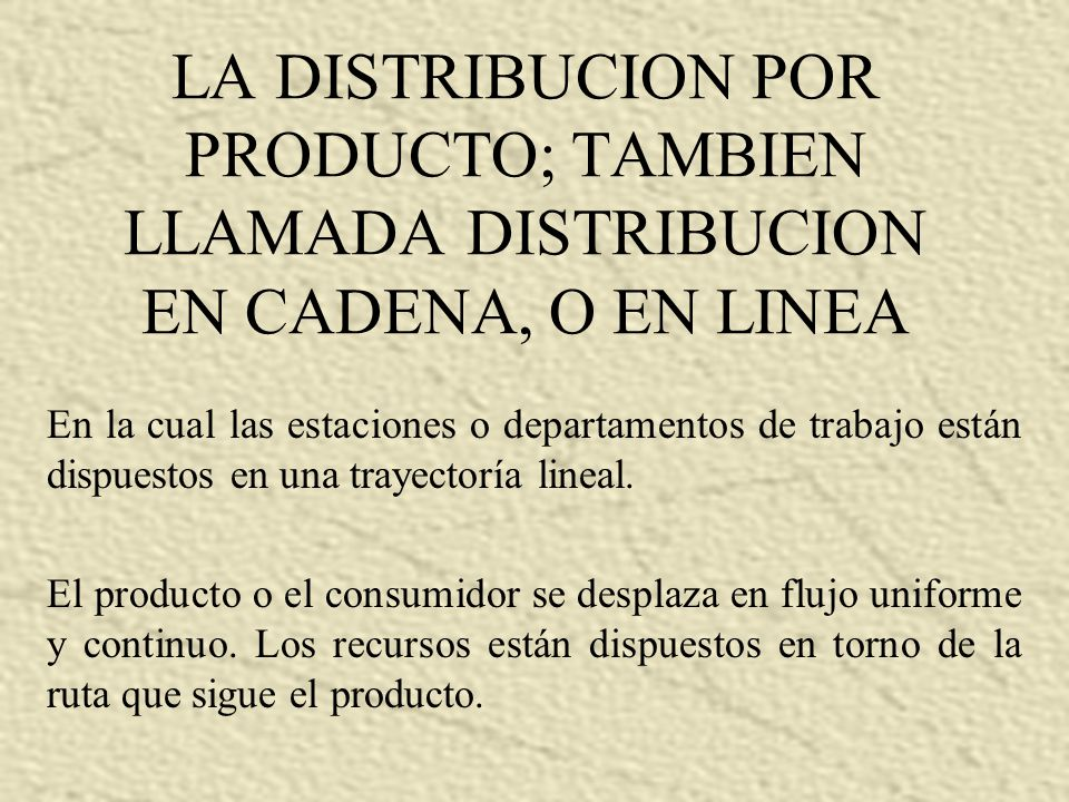 LA DISTRIBUCION POR PRODUCTO; TAMBIEN LLAMADA DISTRIBUCION EN CADENA, O EN LINEA