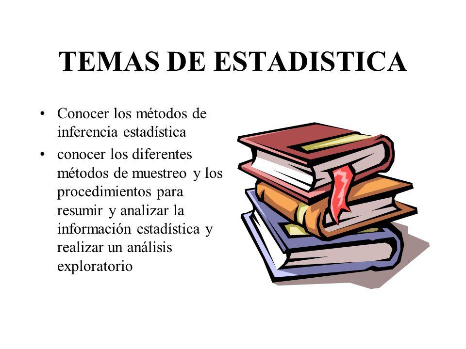 TEMAS DE ESTADISTICA Conocer los métodos de inferencia estadística