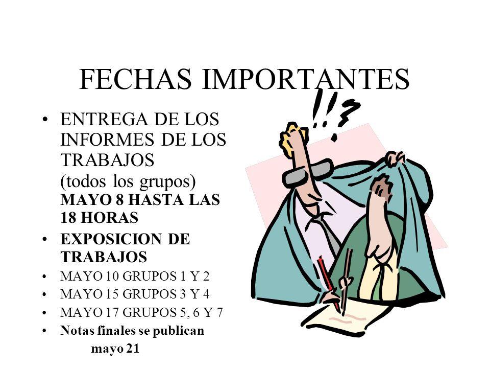 FECHAS IMPORTANTES ENTREGA DE LOS INFORMES DE LOS TRABAJOS (todos los grupos) MAYO 8 HASTA LAS 18 HORAS.