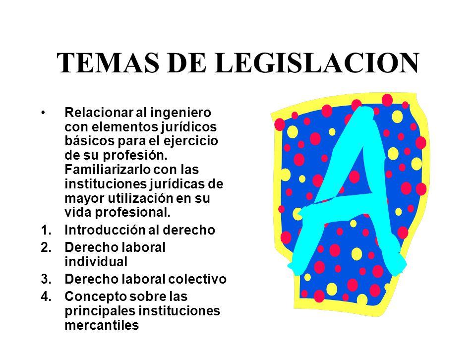 TEMAS DE LEGISLACION