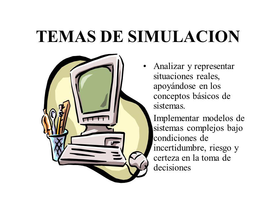 TEMAS DE SIMULACION Analizar y representar situaciones reales, apoyándose en los conceptos básicos de sistemas.