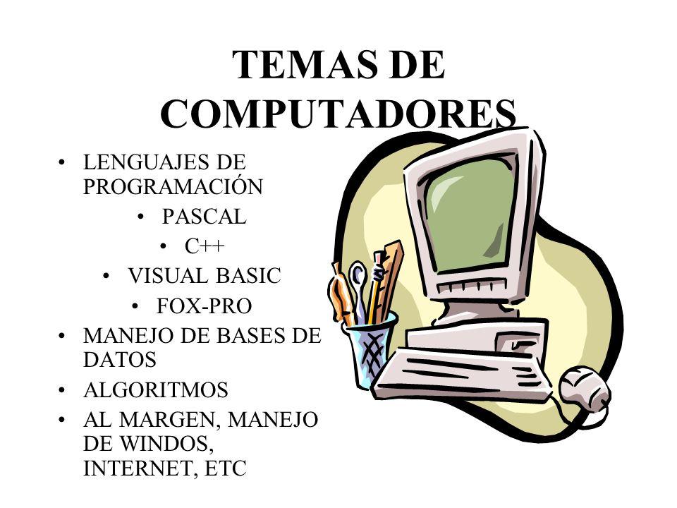 TEMAS DE COMPUTADORES LENGUAJES DE PROGRAMACIÓN PASCAL C++