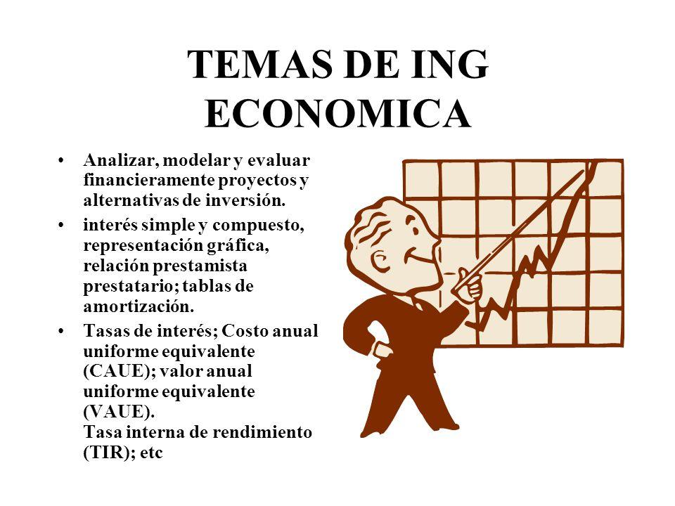 TEMAS DE ING ECONOMICA Analizar, modelar y evaluar financieramente proyectos y alternativas de inversión.