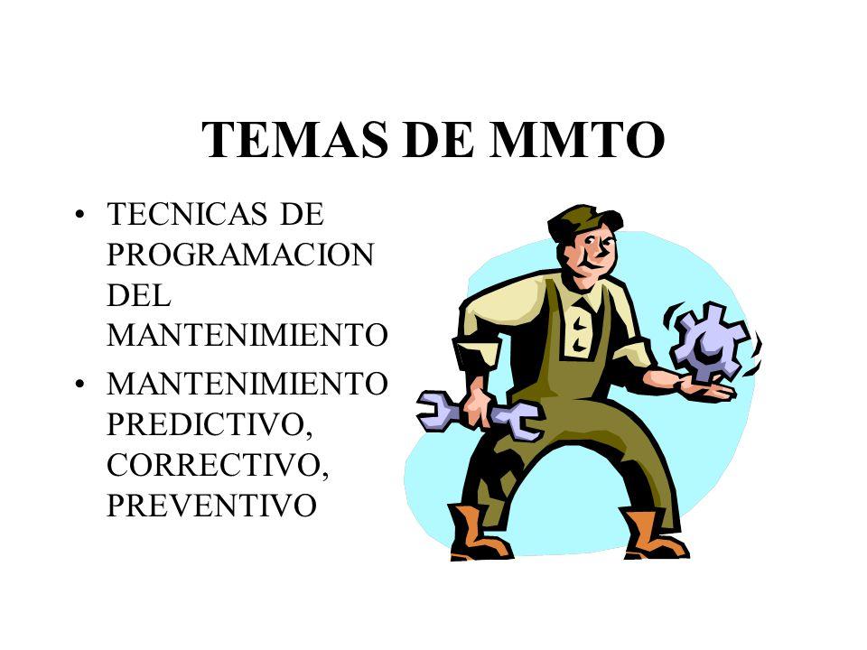 TEMAS DE MMTO TECNICAS DE PROGRAMACION DEL MANTENIMIENTO